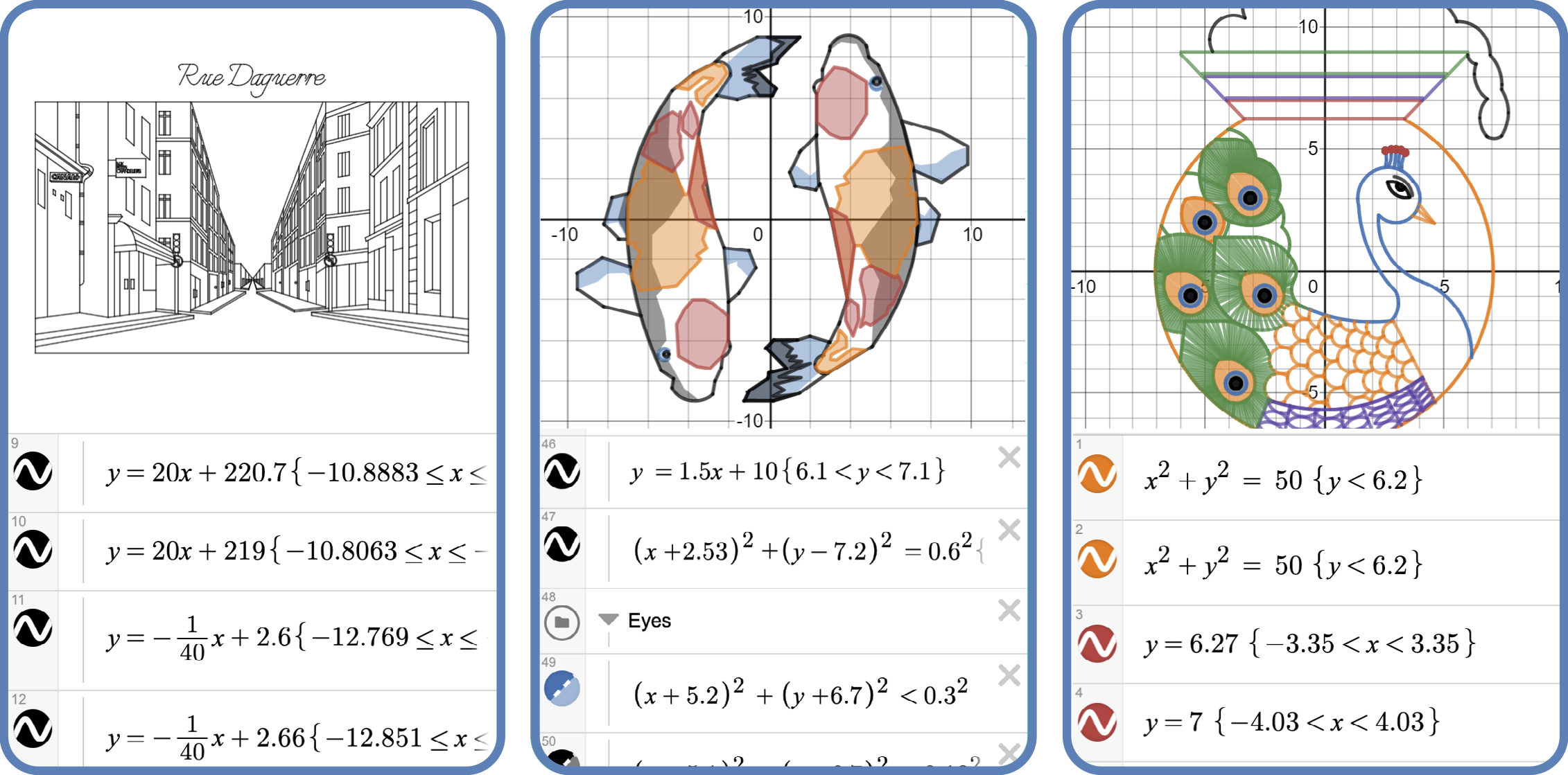 Three artistic graphs—a streetscape, two goldfish, and a peacock—together with a peek at some of the equations that generated them.)