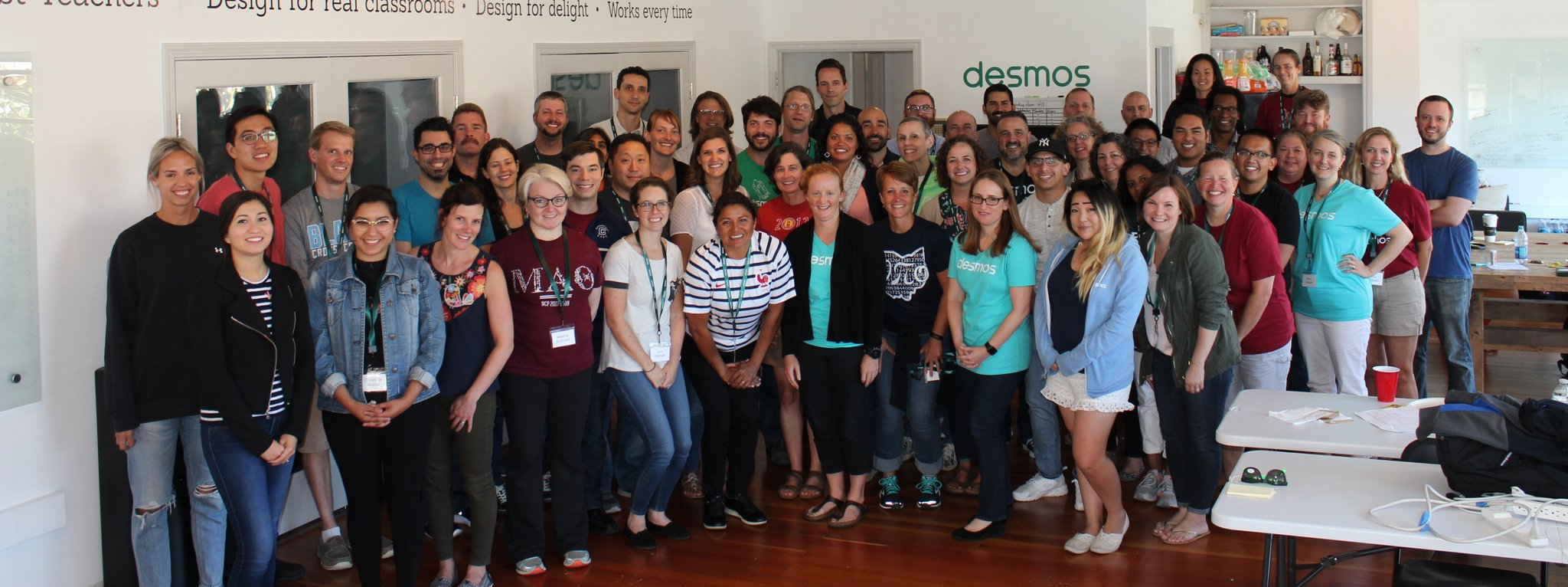 Group portrait of Desmos Fellows and staff at last year's Fellows weekend