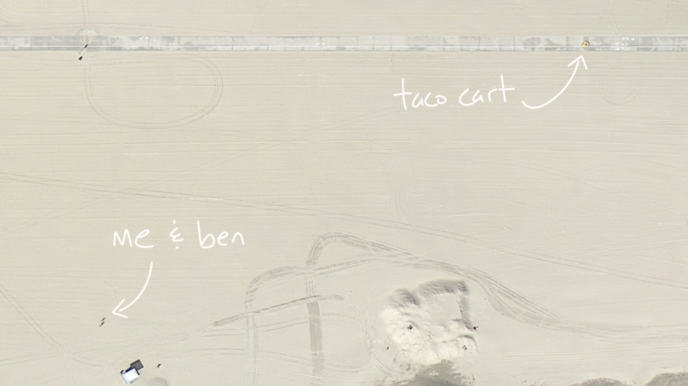 Screenshot of introductory image from the Taco Cart task. An overhead photo of a beach with the Taco Cart located on a boardwalk, and Dan and Ben on the beach near the water