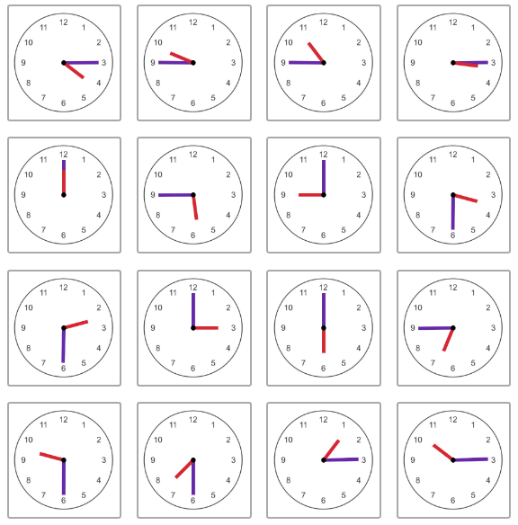 Image shows an array of 16 analog clocks, each telling a different time that is either on the hour, or 15, 30, or 45 minutes after the hour. The hour hands are all red; the minute hands are all purple.