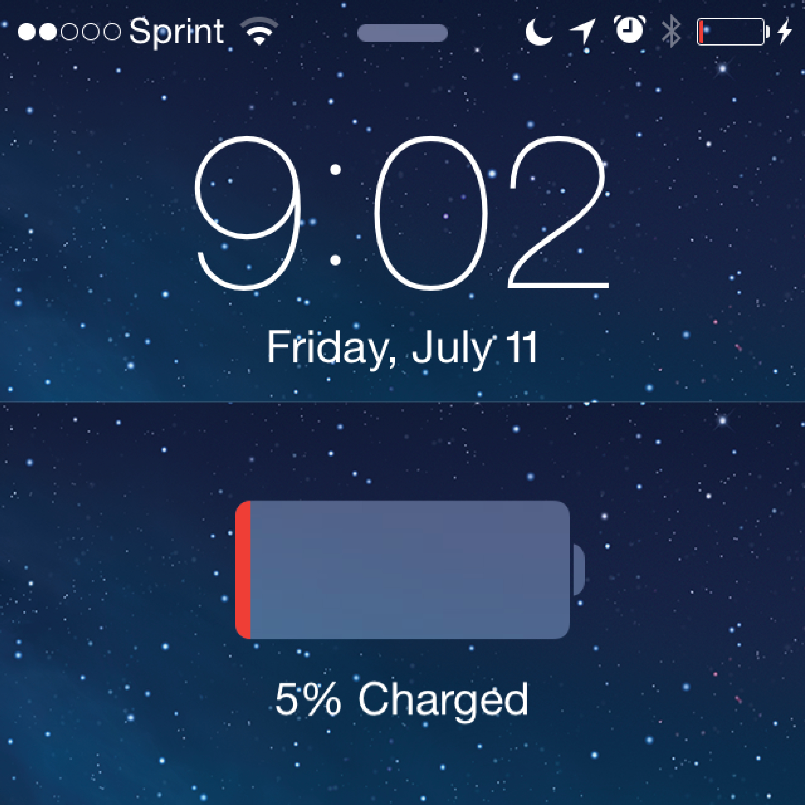 Screenshot of an iPhone showing 9:02, Friday, July 11. A night sky in the background image. The phone shows as plugged in and currently at 5% power.